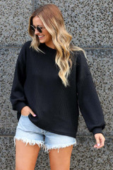 Black - Ribbed Knit Oversized Top from Dress Up