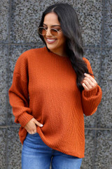 Rust - Ribbed Knit Oversized Top