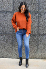 Rust - Ribbed Knit Oversized Top from Dress Up
