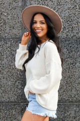 Ivory - Ribbed Knit Oversized Top from Dress Up
