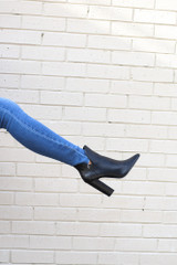 Model wearing the Crocodile V-Cut Booties from Dress Up