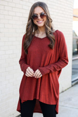 Rust - Oversized Brushed Knit Pullover from Dress Up