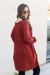 Rust - Oversized Brushed Knit Pullover Back View