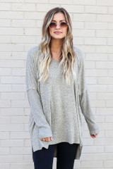 Taupe - Model wearing the Oversized Brushed Knit Pullover