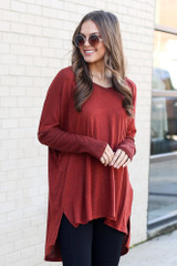 Dress Up model wearing the Oversized Brushed Knit Pullover in Rust