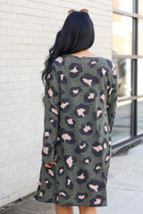 Leopard Brushed Knit Longline Cardigan in Olive Back View