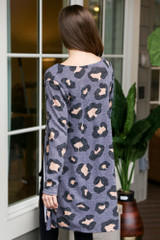 Leopard Brushed Knit Longline Cardigan in Charcoal Back View