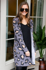 Dress Up model wearing the Leopard Brushed Knit Longline Cardigan in Charcoal