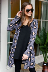 Leopard Brushed Knit Longline Cardigan in Charcoal Front View