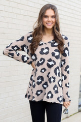 Taupe - Model wearing the Brushed Knit Leopard Top