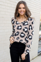 Model wearing the Brushed Knit Leopard Top in Taupe