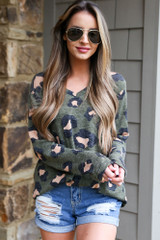 Olive - Dress Up model wearing the Brushed Knit Leopard Top in Olive