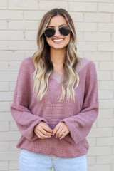 Burgundy - Model wearing the Oversized Waffle Knit Contrast Top