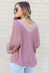 Burgundy - Oversized Waffle Knit Contrast Top Back View