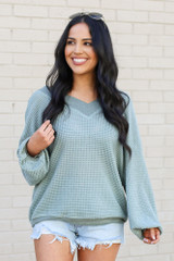 Sage - Dress Up model wearing the Oversized Waffle Knit Contrast Top