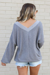 Model wearing the Oversized Waffle Knit Contrast Top in Grey Back View