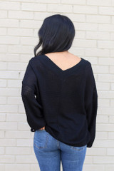 Model wearing the Oversized Waffle Knit Contrast Top in Black Back View