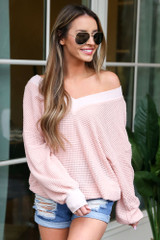 Model wearing the Oversized Waffle Knit Contrast Top in Blush Front View