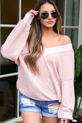 Model wearing the Oversized Waffle Knit Contrast Top in Blush with high rise mom shorts from Dress Up Front View