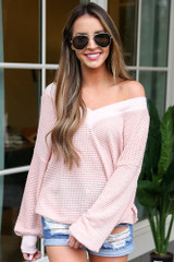 Blush - Oversized Waffle Knit Contrast Top from Dress Up