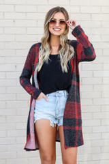 Red - Buffalo Plaid Longline Cardigan