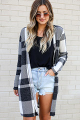 Ivory - Model wearing the Buffalo Plaid Longline Cardigan