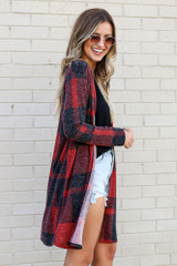 Red - Buffalo Plaid Longline Cardigan from Dress Up