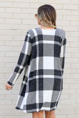 Ivory - Buffalo Plaid Longline Cardigan Back View
