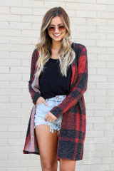 Dress Up model wearing the Buffalo Plaid Longline Cardigan in Red