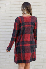 Buffalo Plaid Longline Cardigan in Red Back View