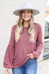 Marsala - Brushed Knit Balloon Sleeve Top Front View