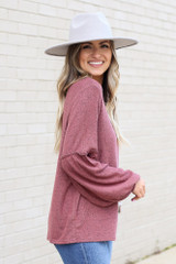 Model wearing the Brushed Knit Balloon Sleeve Top in Marsala Side View