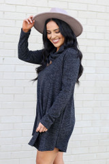 Model wearing the Crossover Cowl Neck Sweater Tunic in Charcoal from Dress Up Side View