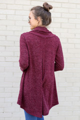 Model wearing the Crossover Cowl Neck Sweater Tunic in Burgundy from Dress Up Back View
