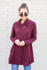 Burgundy - Crossover Cowl Neck Sweater Tunic