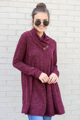 Burgundy - Crossover Cowl Neck Sweater Tunic from Dress Up