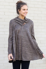 Model wearing the Crossover Cowl Neck Sweater Tunic in Mocha with leggings from Dress Up