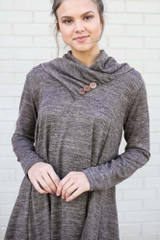Mocha - Crossover Cowl Neck Sweater Tunic from Dress Up
