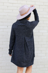 Model wearing the Crossover Cowl Neck Sweater Tunic in Charcoal from Dress Up