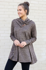 Model wearing the Crossover Cowl Neck Sweater Tunic in Mocha with leggings from Dress Up Front View
