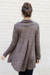 Model wearing the Crossover Cowl Neck Sweater Tunic in Mocha with leggings from Dress Up Back View