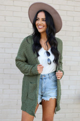 Olive - Popcorn Knit Sweater Cardigan from Dress Up