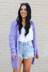 Lilac - Popcorn Knit Sweater Cardigan from Dress Up