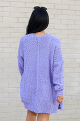 Model wearing the Popcorn Knit Sweater Cardigan in Lilac from Dress Up Back View