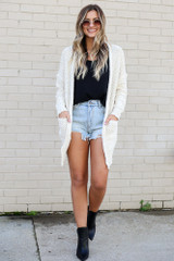 Model wearing the Popcorn Knit Sweater Cardigan in Ivory from Dress Up Full Outfit Front View