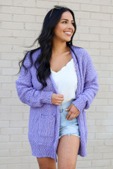 Model wearing the Popcorn Knit Sweater Cardigan in Lilac from Dress Up Front View