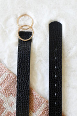 Black - Flat Lay of the Crocodile Print Double O-Ring Belt from Dress Up