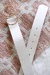White - Flat Lay of the Crocodile Print Double O-Ring Belt