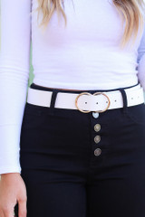 White - Crocodile Print Double O-Ring Belt from Dress Up