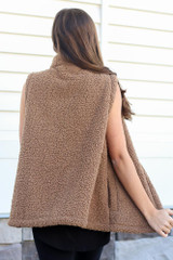 Mocha - Sherpa Vest Back View